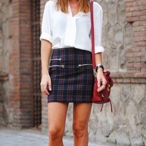 Plaid Zara Skirt with Zipper Detailing